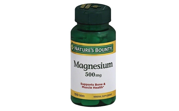 Bottle of magnesium pills