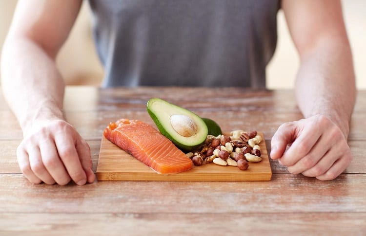 salmon with avocado and nuts