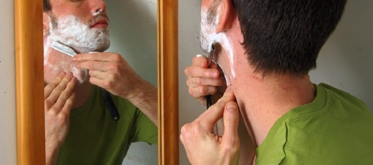 stages of shaving with straight razor